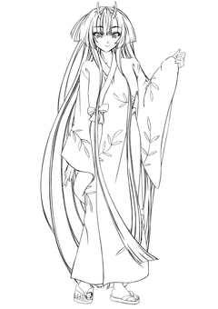 Kajima Maohime 4, room wear, long hair (line drawing)