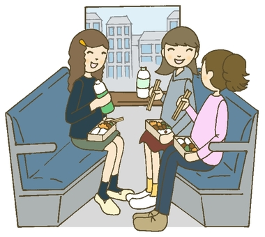 High school girls traveling on a train