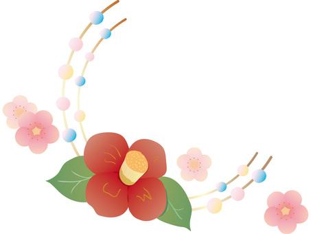 Camellia and plum ornament
