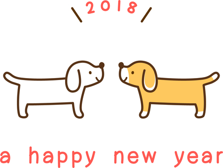One point for new year greeting card _ Two dogs