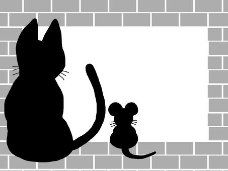 猫 ネズミ シルエット レンガフレーム