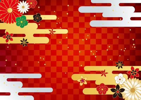 ปีใหม่ _ และจับ _ ลายสก๊อต _ พื้นหลังสีแดง