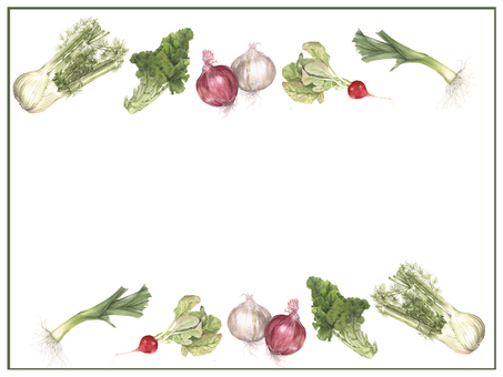 Letter background - hand-painted watercolor of vegetables