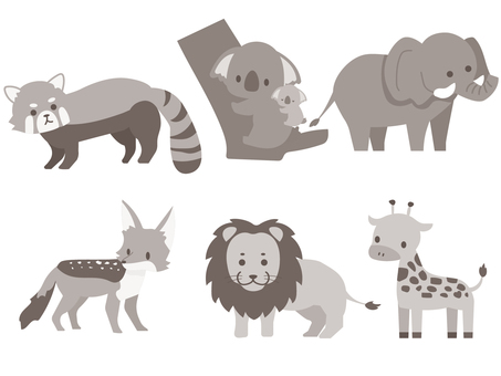 Cute animals set monochrome