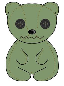 Handmade bear plush (green)