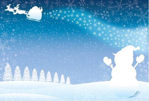 눈사람과 산타 프레임 실루엣 바람