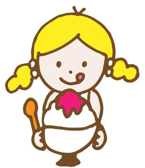 女孩吃刨冰