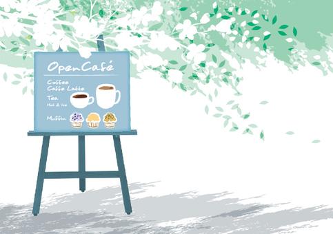 Open cafe illustration white flower