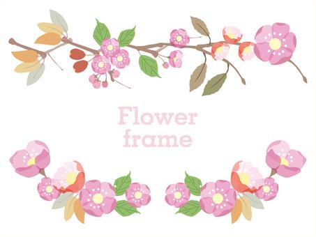 一月至三月的冬天的花朵,春天的花朵/花框1