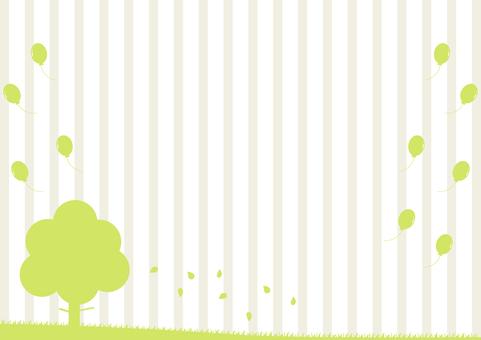 樹木 落ち葉 バルーン ストライプ背景