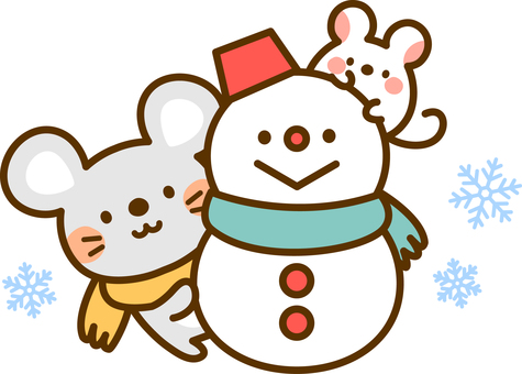 Mouse and snowman
