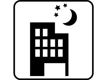 Design with evening building and moon frame