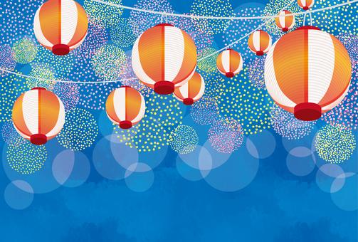 花火のような水玉と提灯ポストカード 青横