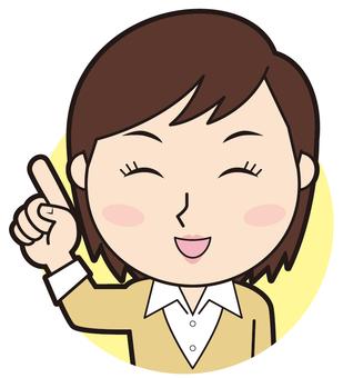 Pointing female teacher (smile)