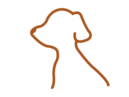 Dog side profile line drawing