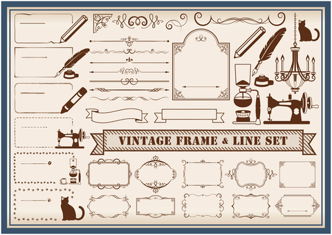 Vintage frame and line decoration set