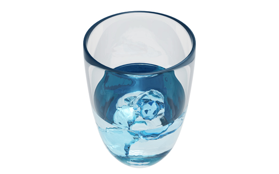 Glass with ice at sea 1 (background transparent)