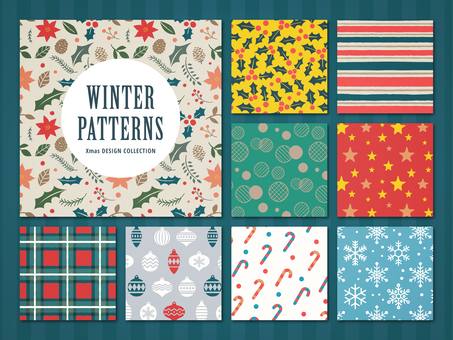 Winter decoration pattern set