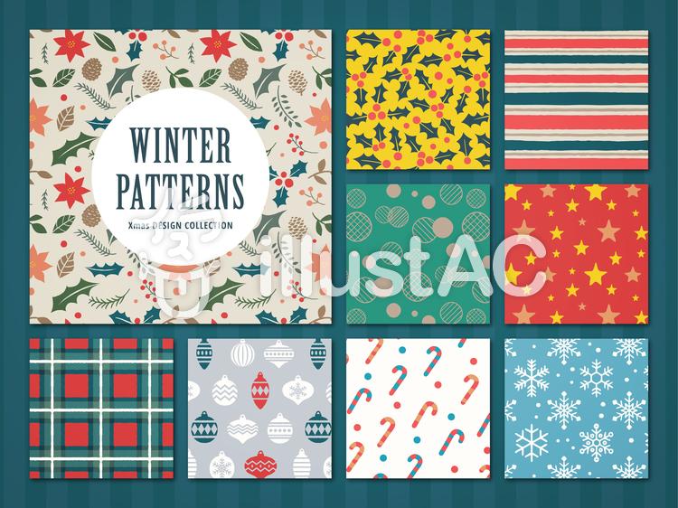 冬の装飾パターンセットのイラスト