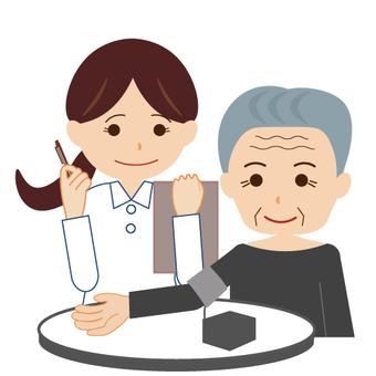 Grandpa measuring blood pressure