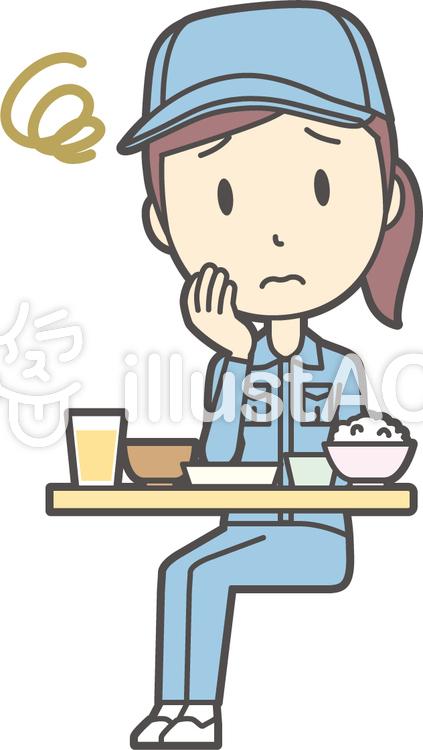 作業員女性ブルー-251-全身のイラスト