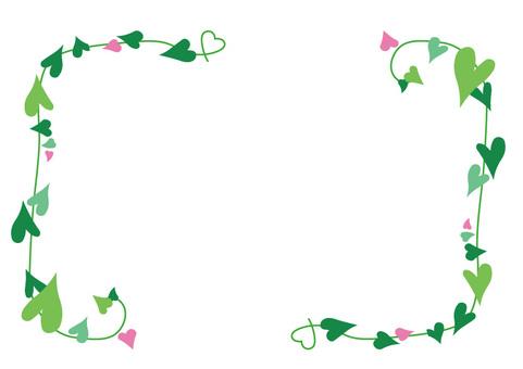 하트 나뭇잎 프레임 5 녹색