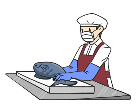 Fish processing person
