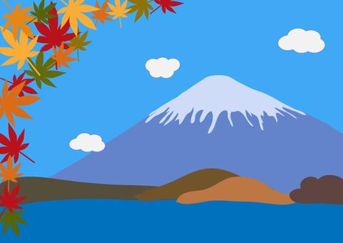 Fuji and autumn leaves illustration 3
