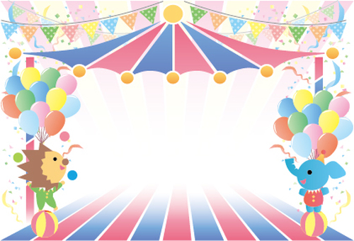 Circus style cute message card