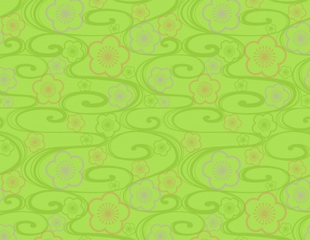 Japanese style wave _ plum and wave pattern