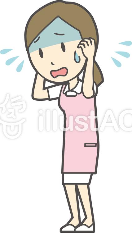 エプロン白衣ピンク-294-全身のイラスト