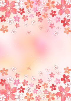 Cherry blossoms _ Pastel _ Pink background _ Vertical type 1824