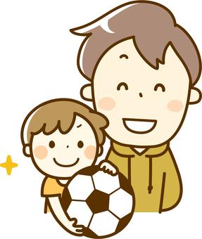 與父母和孩子的足球