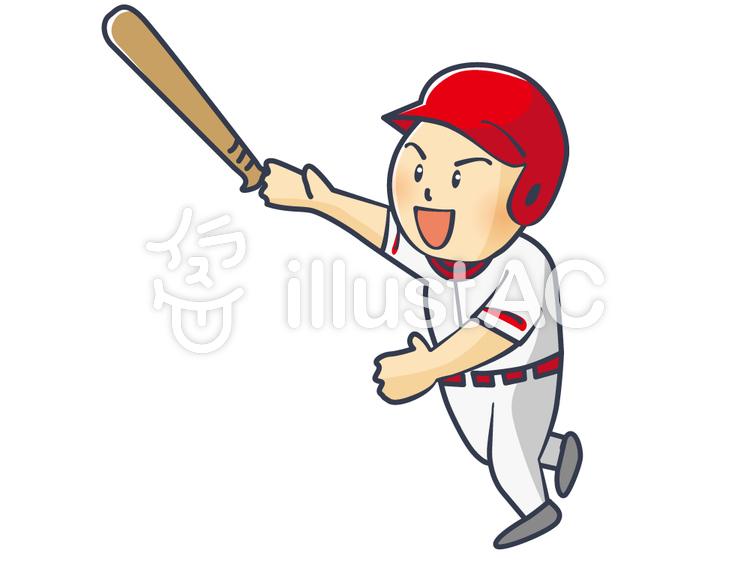 ヒットを放つ野球選手のイラスト