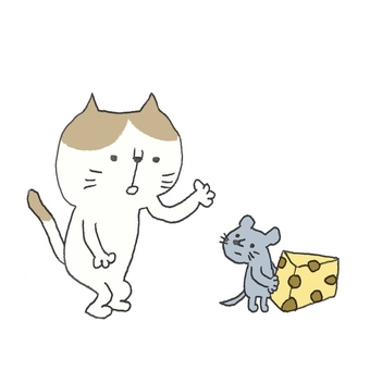A rat being fooled by a cat