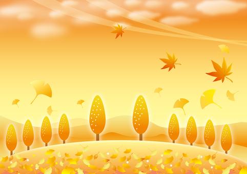 秋の黄昏の風景