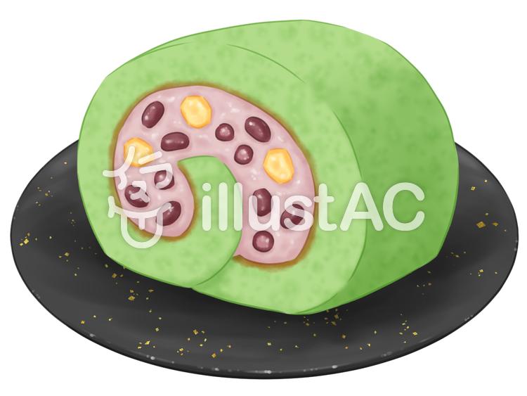 抹茶のロールケーキのイラスト