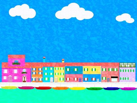 Vinezia_ Burano island_ oil painting style
