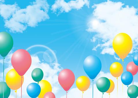 Blue sky balloon balloon fine weather background frame decorative frame