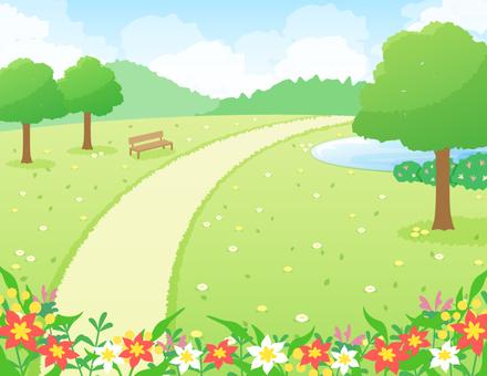 나무가있는 공원의 풍경 _ 꽃