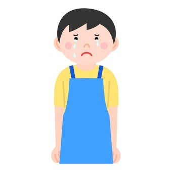 A man with an apron (crying)