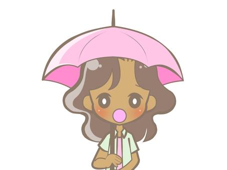 Black woman holding an umbrella