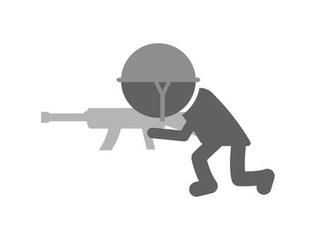 Stick man pictogram _ soldier