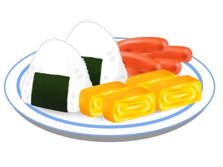 飯糰球蛋被燒的香腸