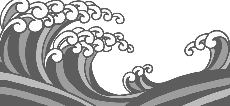 No rough waves Asahi monochrome