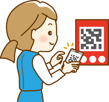 A woman reading a QR code