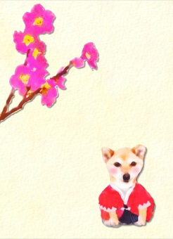 Dog and plum blossoms