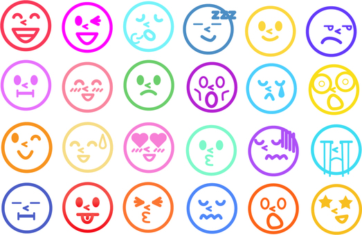 Colorful emoji and face 2
