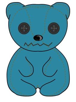 Handmade bear plush (blue)