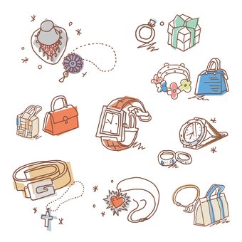 Illustration of women's accessories